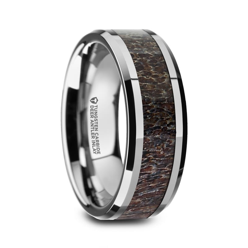 Mens Wedding Rings.Fawn Beveled Tungsten Carbide Polished Men S Wedding Band With Dark Antler Inlay