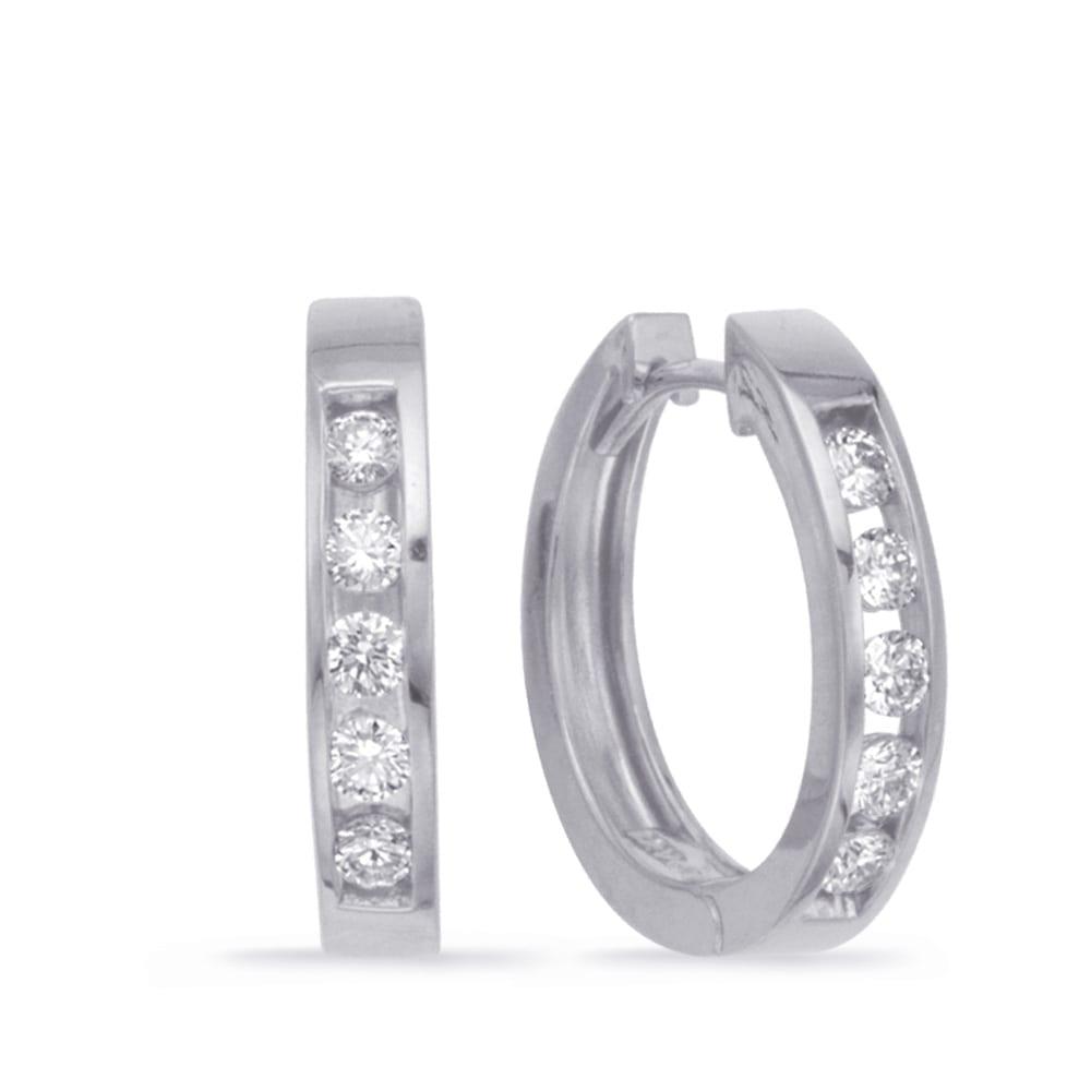 Home Designers S Kashi 14k White Gold Diamond Huggie Hoop Earrings